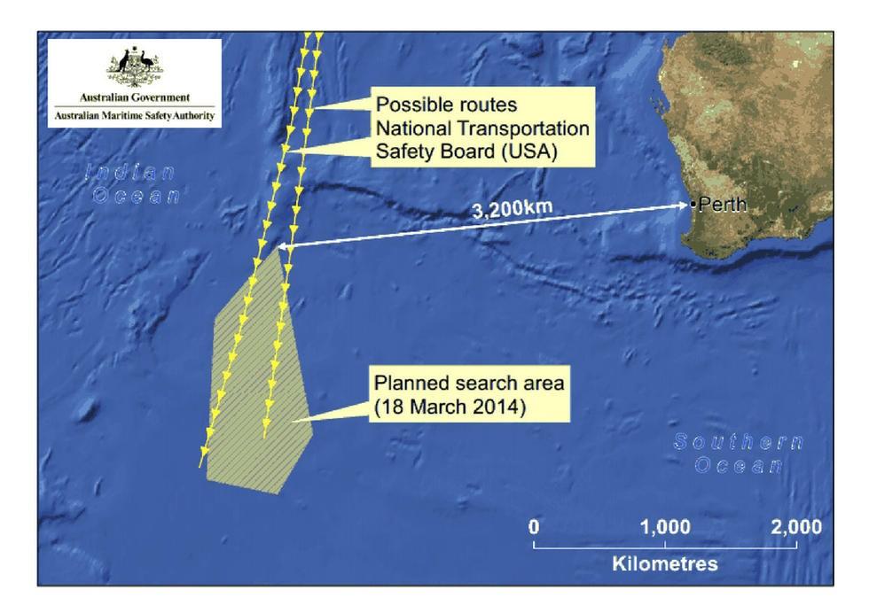 黄色区域为澳大利亚发现疑似与马航失联客机相关物体