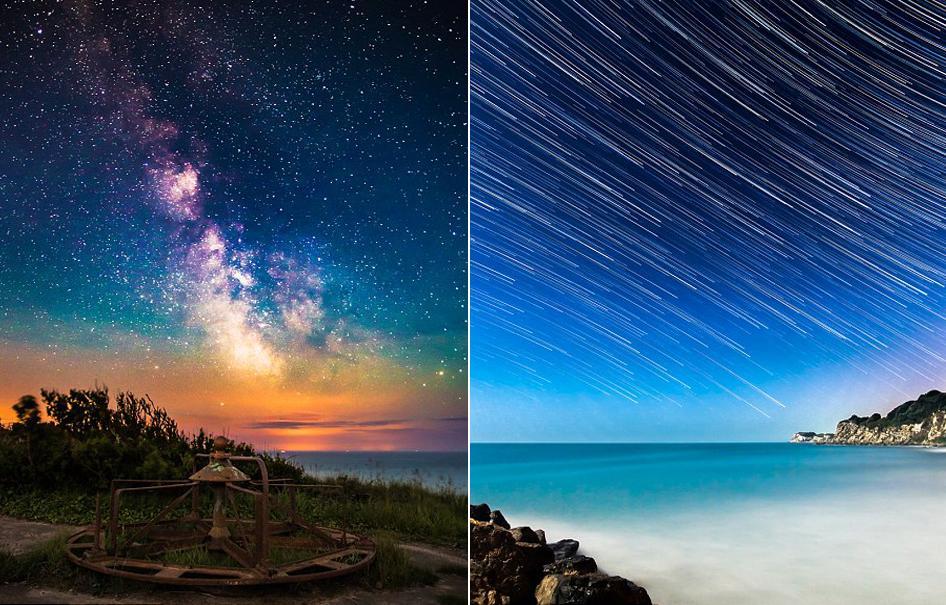 左图为一主题公园的夜空,右图由120张图片合成,用于表现2014年6月24日