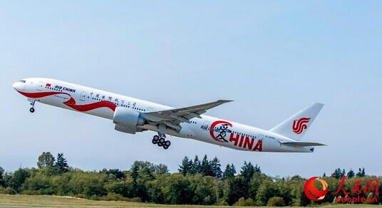 """中国国航第20架波音777-300er宽体客机""""air china爱china""""号彩绘飞机"""