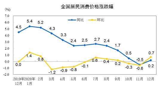 统计局:2020年全国居民消费价格(CPI)同比上涨2.5% 由降转涨
