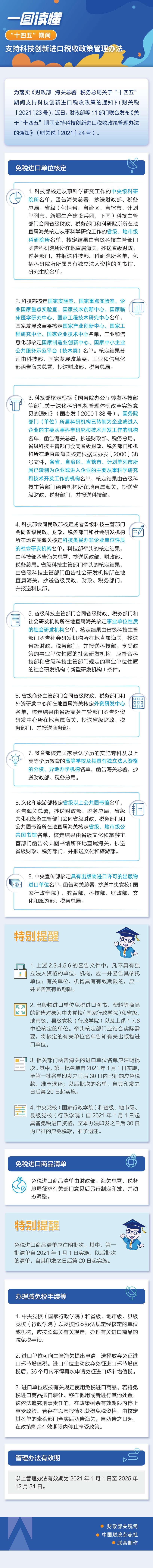 """一图读懂""""十四五""""期间支持科技创新进口税收政策管理办"""