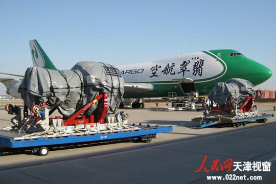 天津第一架a320下线飞机发动机运抵机场